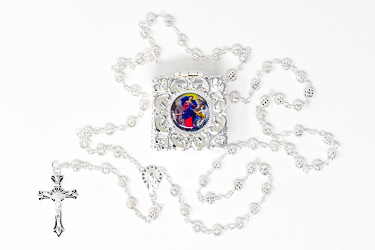 Mary Undoer of Knots Silver Rosary.