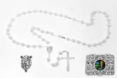 Silver Rosary Beads.
