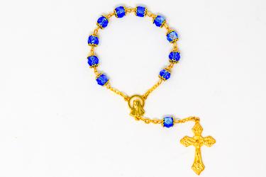 Blue Virgin Mary Single Decade Rosary.