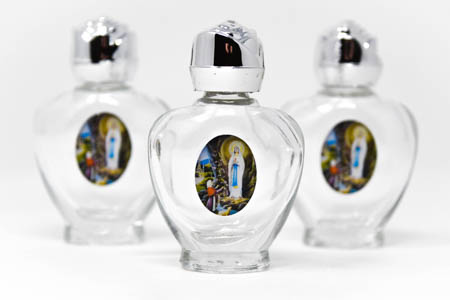 Heart Lourdes Holy Water Bottles.
