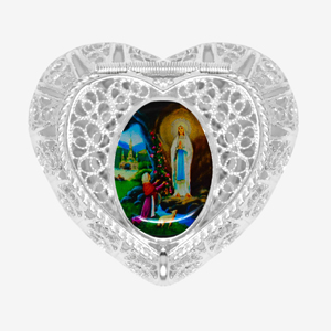 925 Heart Shaped Lourdes Trinket Box.