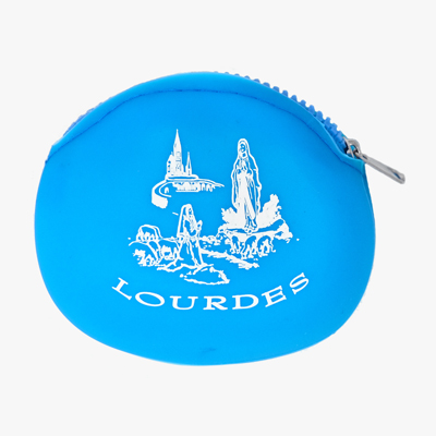 Blue Rubber Rosary Purse.