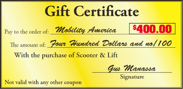 mobility america gift certificate