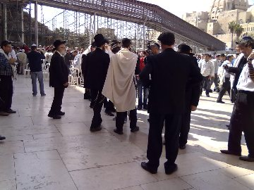 Friday at the Kotel, Shaharit Morning Prayer, with Mincha/noon prayer to come and Ma'ariv evening prayer later