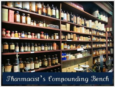 pharmacist compounding bench with old bottles and vials