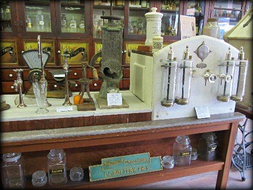 antique pharmacy soda counter machinery