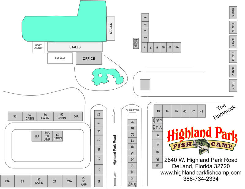 Florida Camping Map.Highland Park Fish Camp Where Fishing Is A Tradition Campground Map