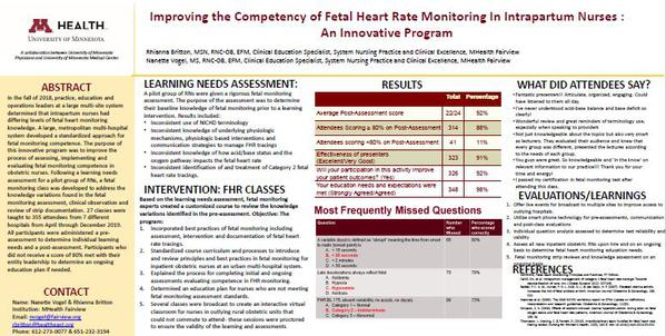 Improving the Competency of Fetal Heart Rate Monitoring In Intrapartum Nurses:�An Innovative Program