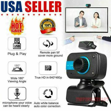 HD Webcam USB Computer Web Camera For PC Laptop Desktop Video Cam W/ Microphone HD - SHIPS TODAY - WITH MIC - GET YOUR MEETING DONE NOW Brand New $10.59