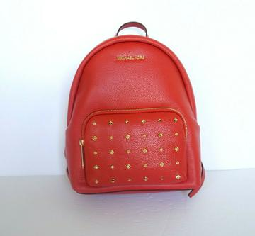 MICHAEL KORS ERIN MEDIUM BACKPACK PEBBLED LEATHER RED(FLAME) STUDS