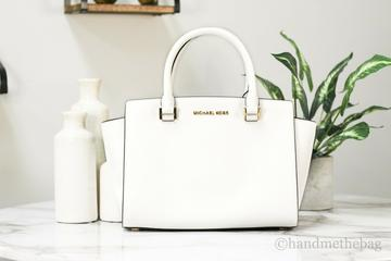 Michael Kors Selma Medium Top Zip Optic White Saffiano Leather Satchel Handbag